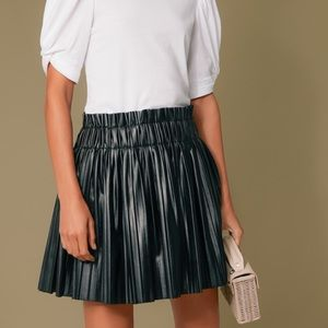Black Faux Leather Pleat Chelsea Skirt